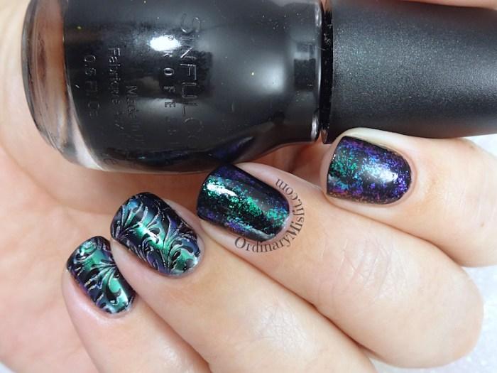Chrome and flakes nail art