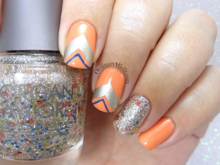 Mimosa shapes nail art