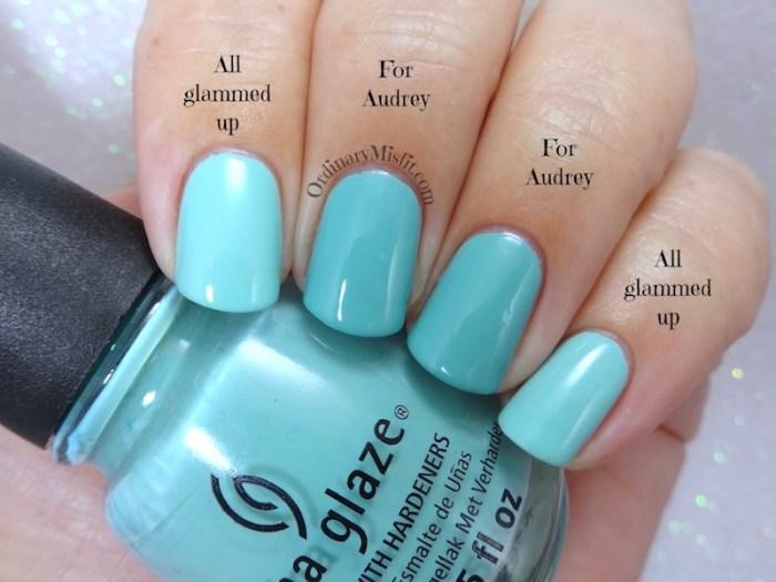 Comparison - China Glaze - For Audrey vs China Glaze - All glammed up