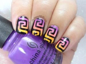 Greek gradient nail art