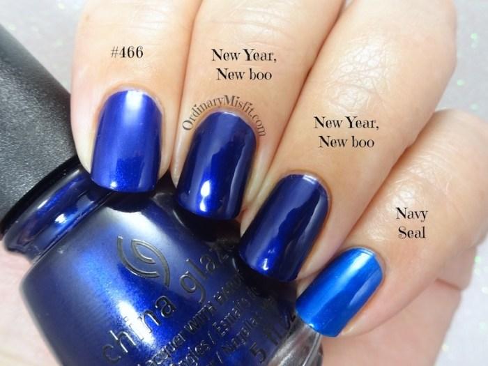 Comparison China Glaze - New year, new boo vs Smudge - Navy seal vs Hean 466