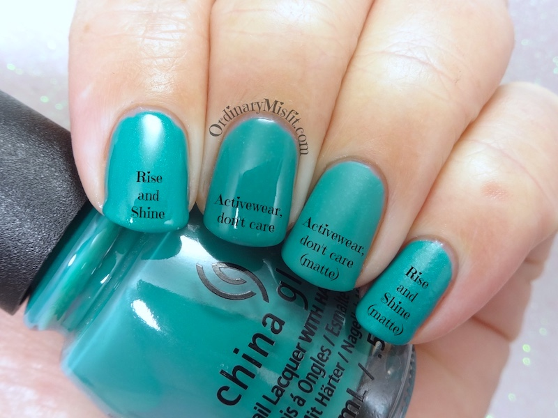 Comparison: China Glaze - Activewear, don't care vs Sinful Colors - Rise and shine