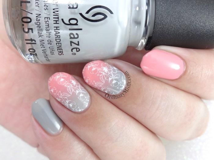 Pink and grey-dients nail art