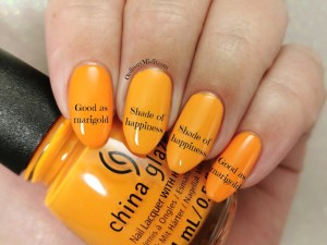 Comparison China Glaze - Good as marigold vs Essence - Shade of happiness