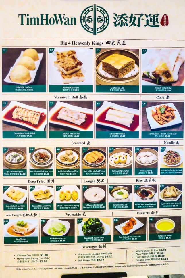 Tim Ho Wan Menu Board