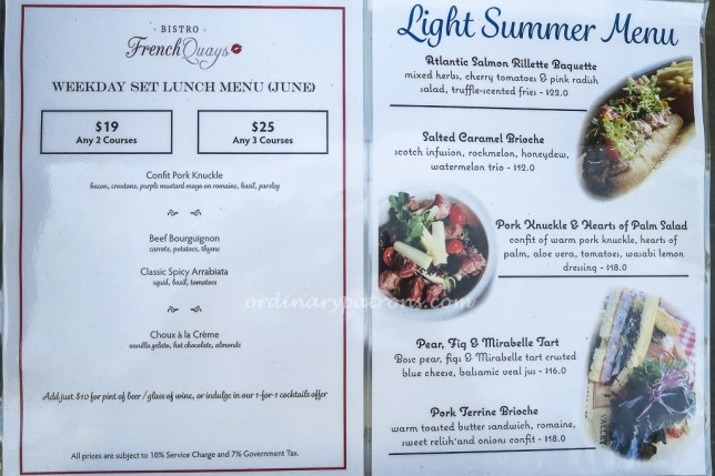 Bistro French Quays Menu