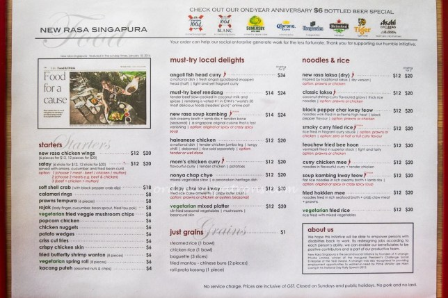 New Rasa Singapura Menu