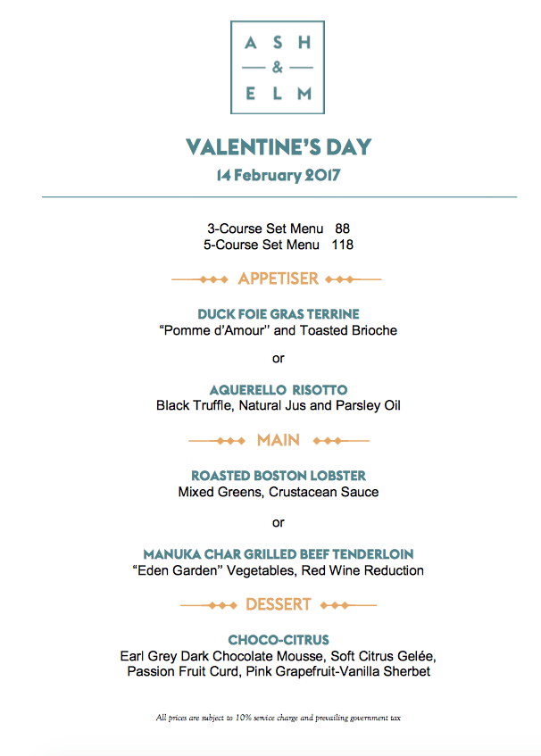 Valentine's Day Menu 2017