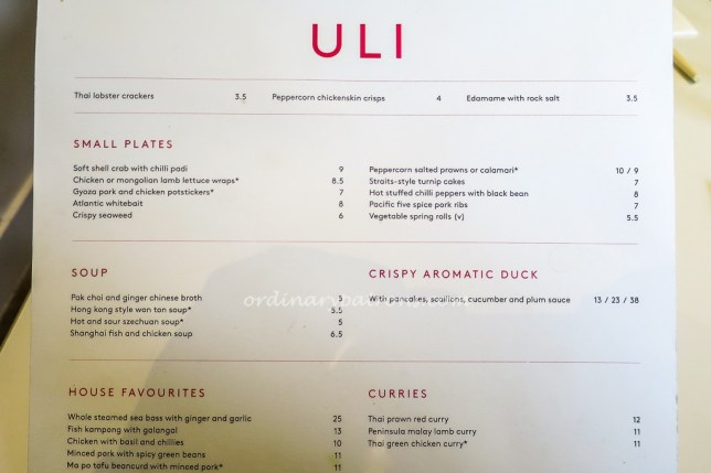 ULI at Notting Hill Menu