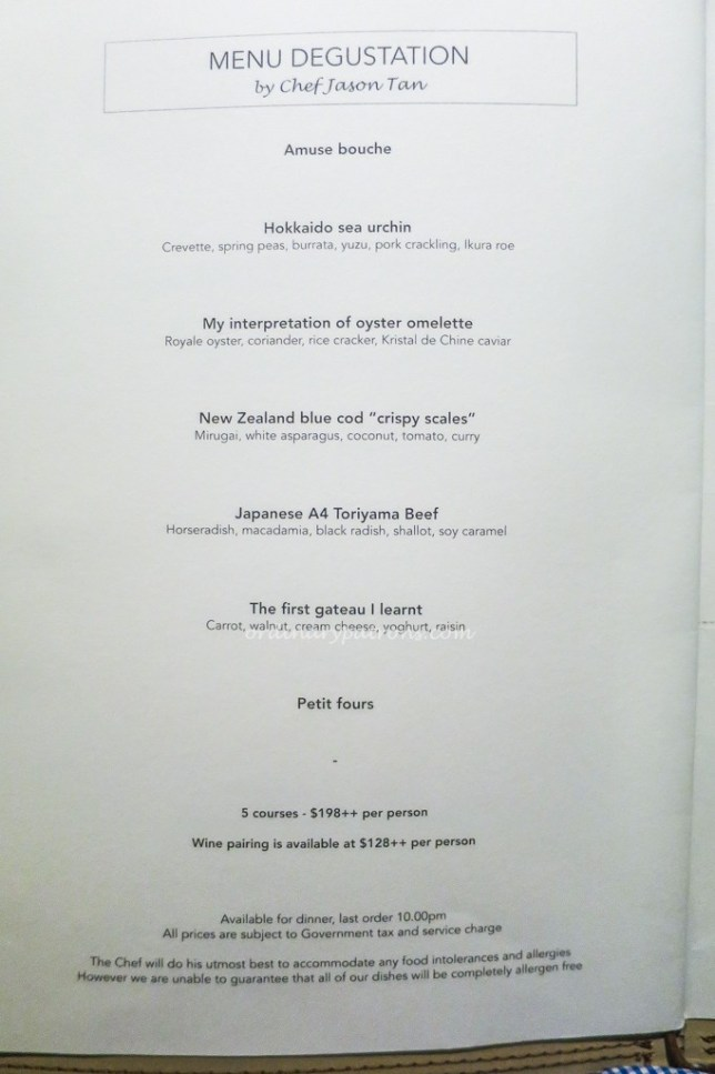 Menu of Corner House in Singapore Botanic Gardens