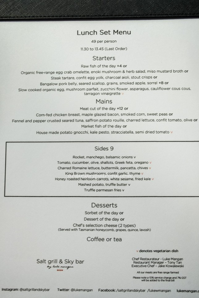 Salt Grill Set Lunch Menu