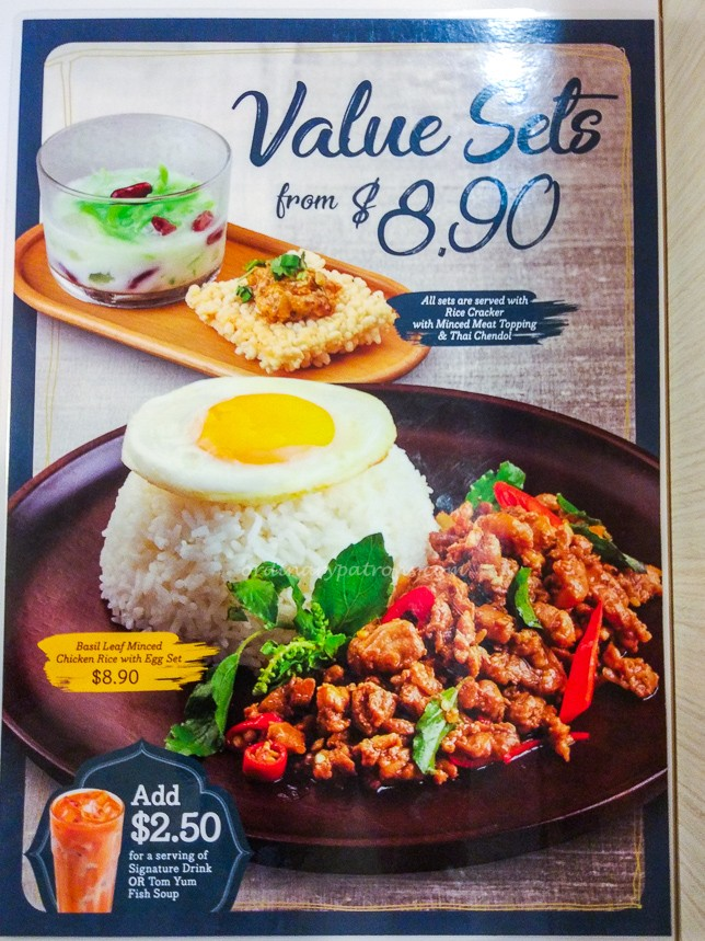 Value set Menu of Bowl Thai restaurant in Chinatown Point