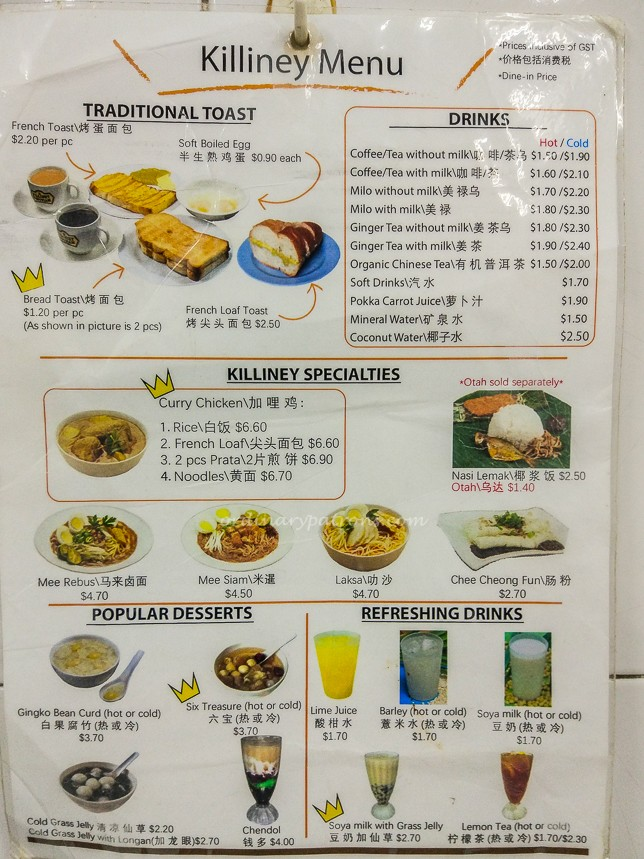 Menu of Killiney Kopitiam