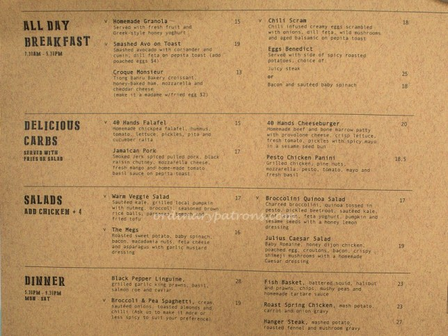 Forty Hands East Coast Menu