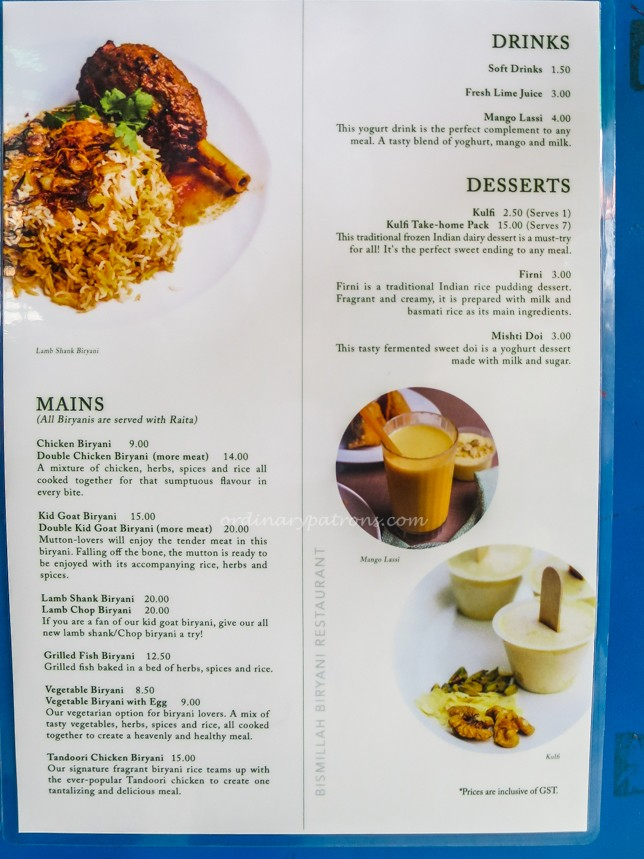 Bismillah Biryani Restaurant Menu