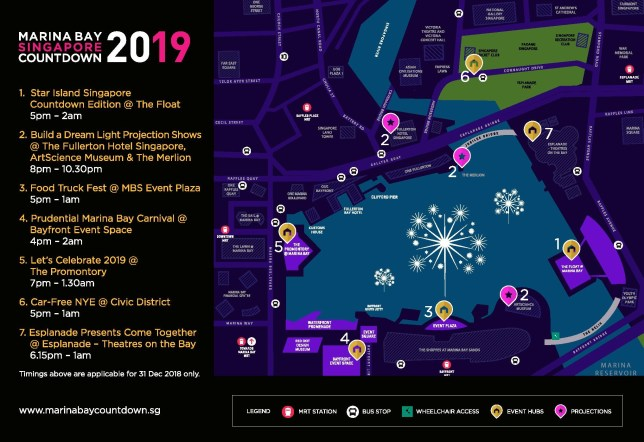 Marina Bay Singapore Countdown 2019 Location Map