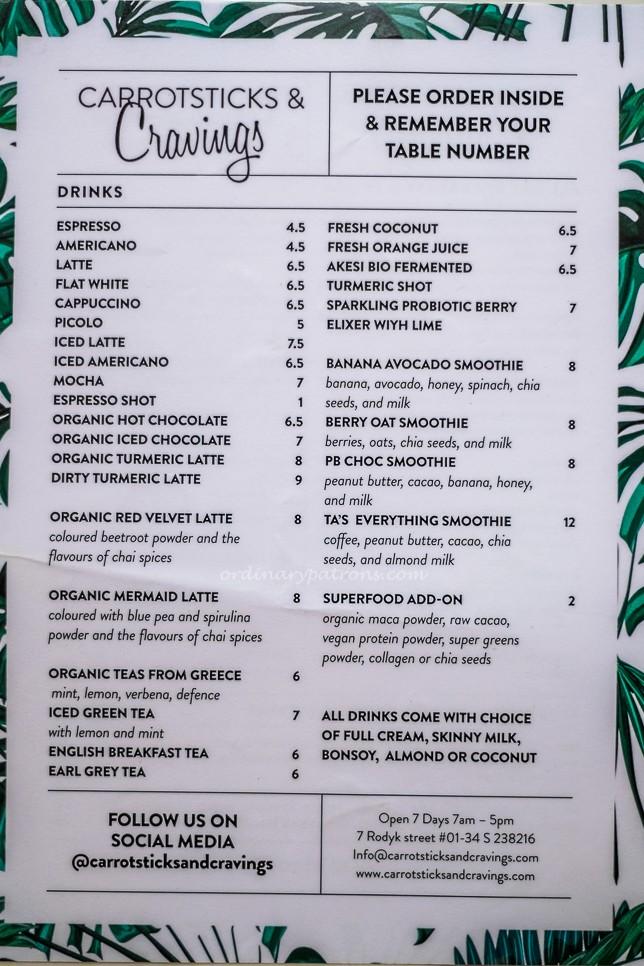 Carrotsticks and Cravings @ Robertson Quay Menu