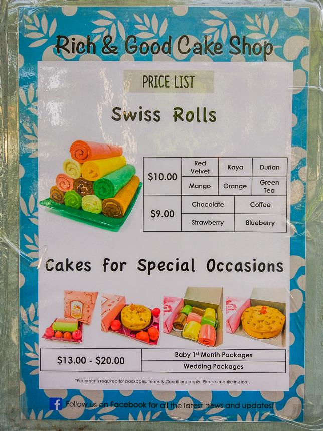 Rich & Good Cake Shop Price List as at April 2019