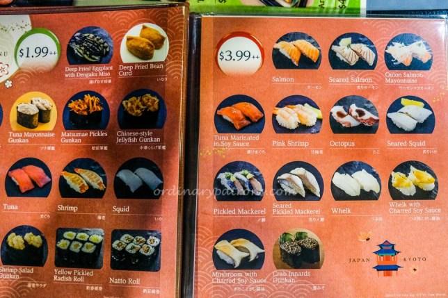 Chojiro Singapore menu.