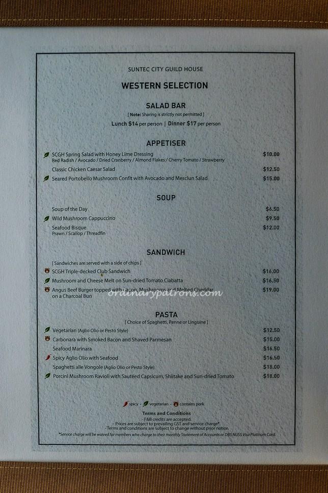 NUSS Suntec City Bistro & Bar Food Menus
