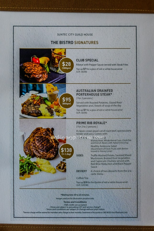 NUSS Suntec City Bistro & Bar Food Menus