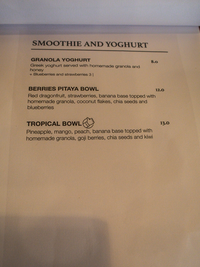 Homeground Coffee Roasters Menu Smoothie & Yoghurt