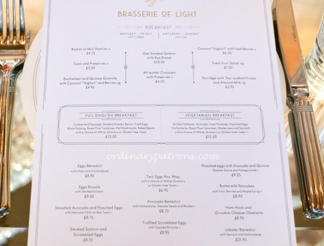 Brasserie of Light Selfridges breakfast menu.
