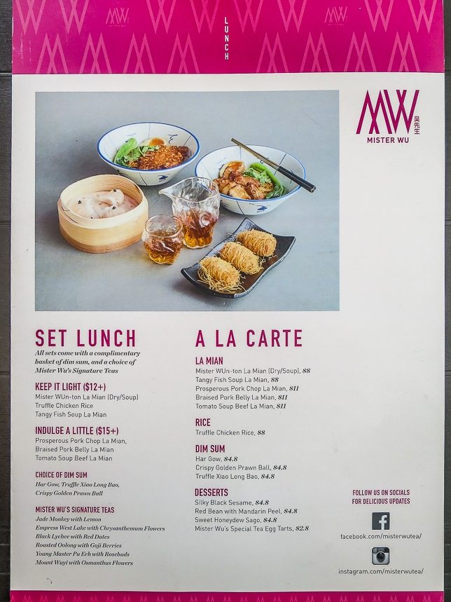 Menu of Mister Wu in CHIJMES
