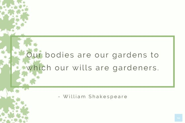 Our bodies are our gardens to which our wills are gardeners. ― William Shakespeare quote