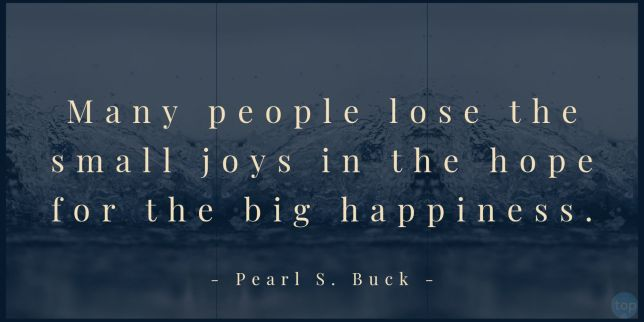 Many people lose the small joys in the hope for the big happiness. Pearl S. Buck  quote