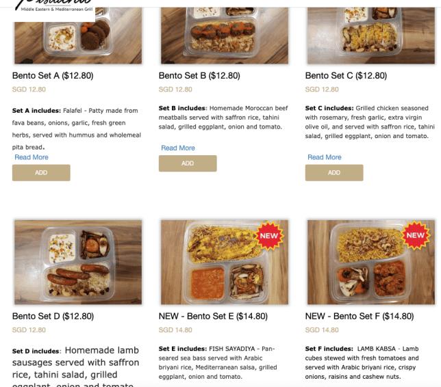 Middle Eastern food takeaway bento set menu