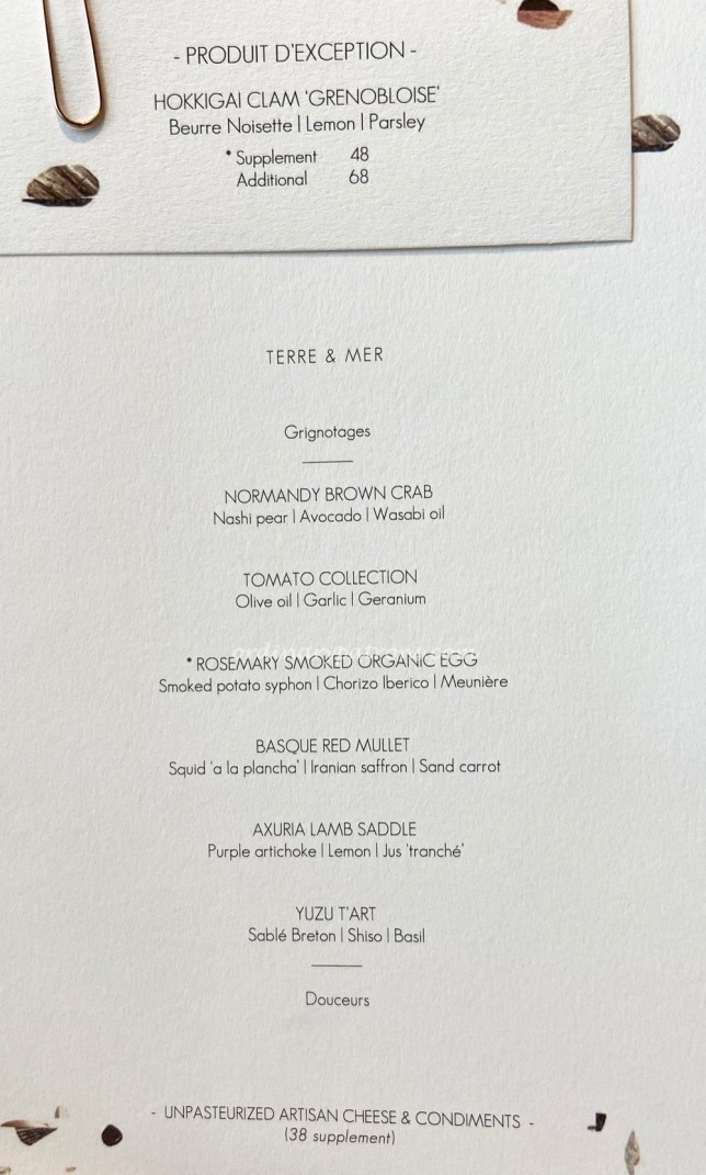 Odette Singapore Restaurant Menu August 2020