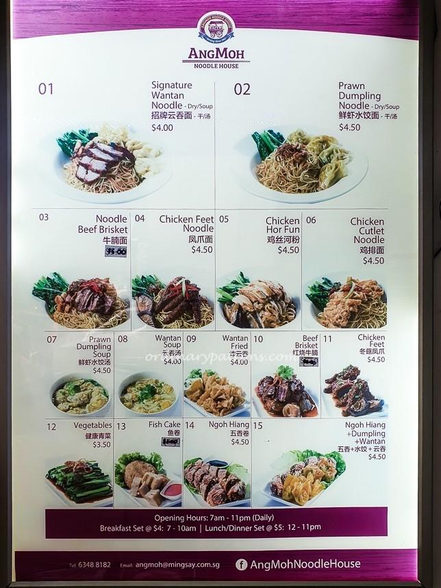 Ang Moh Noodle House Menu