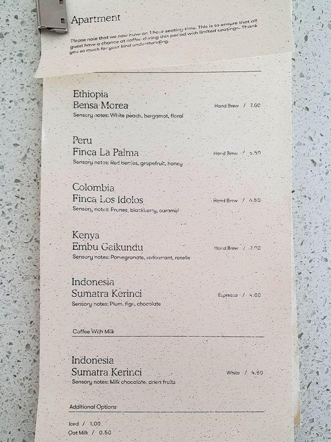 Apartment Coffee Menu