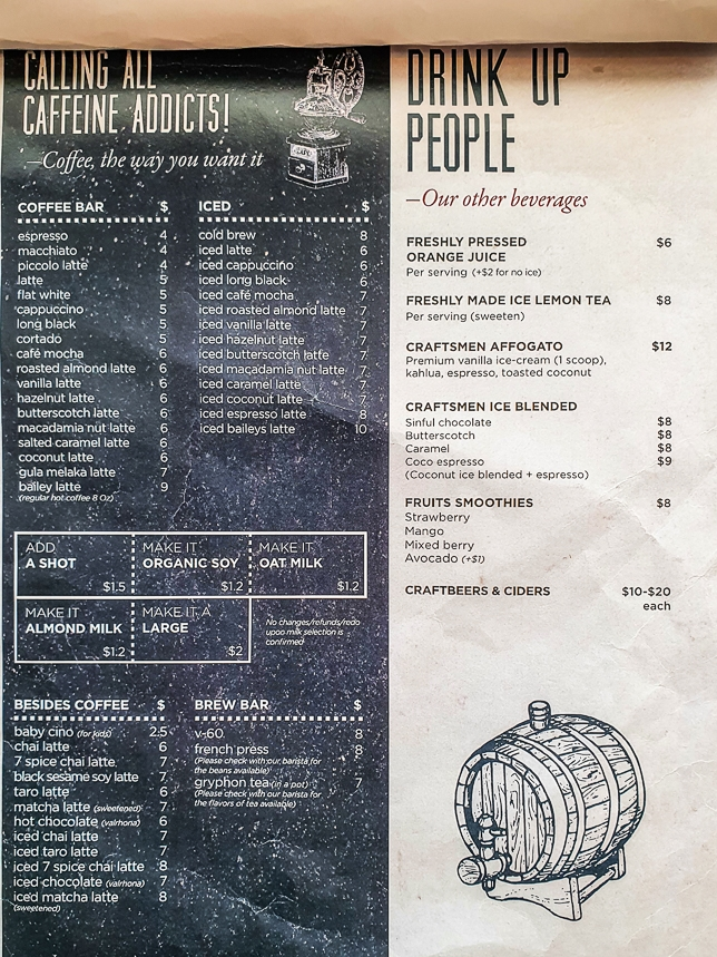 Menu of Craftsmen Specialty Coffee