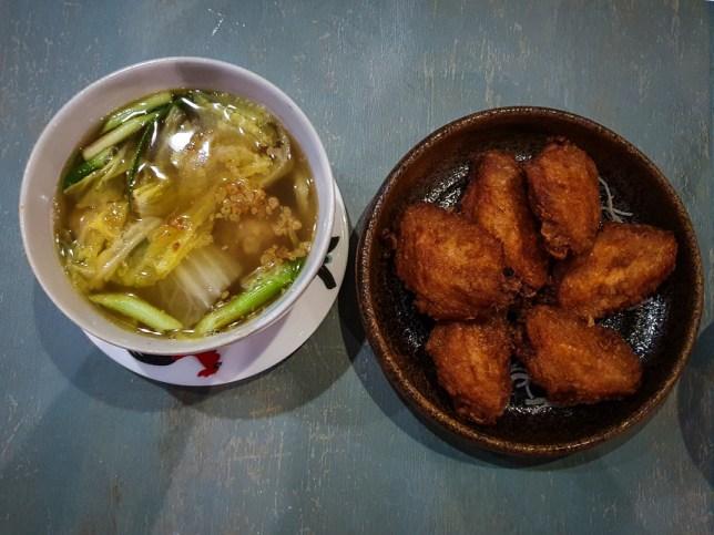 Peranakan Bakwan Kepiting Soup and Har Jeong Kai Wings