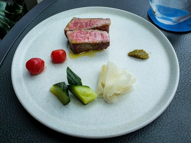 Wagyu striploin (100g), A4 Tochigi prefecture, pickles & preservesat V Dining Restaurant