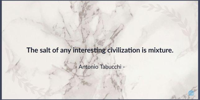 The salt of any interesting civilization is mixture. - Antonio Tabucchiquote