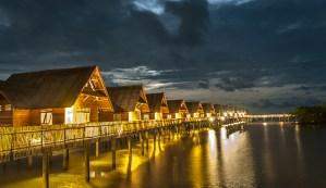Telunas Resorts Overwater Bungalow - Night Shot