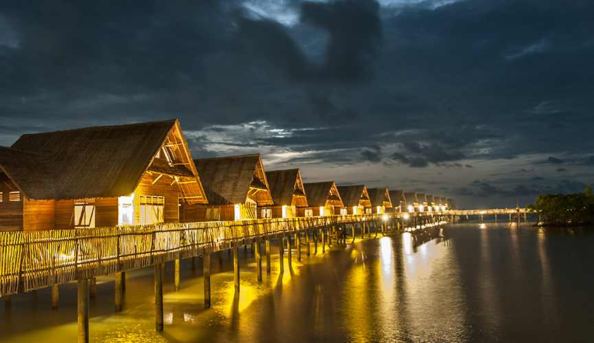 Telunas Resorts Overwater Bungalow - Night Shot