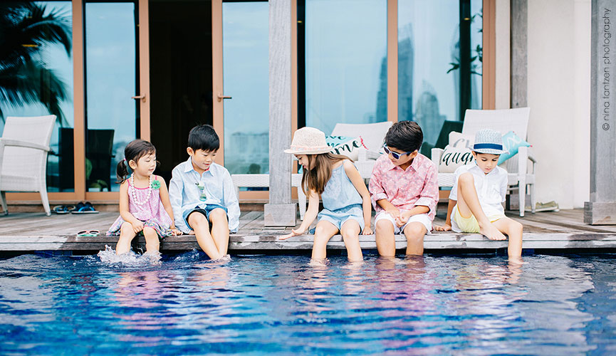 Childrens Lifestyle by the Pool