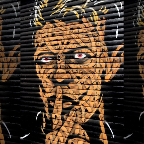 A mural of the late David Bowie at Brixton Village