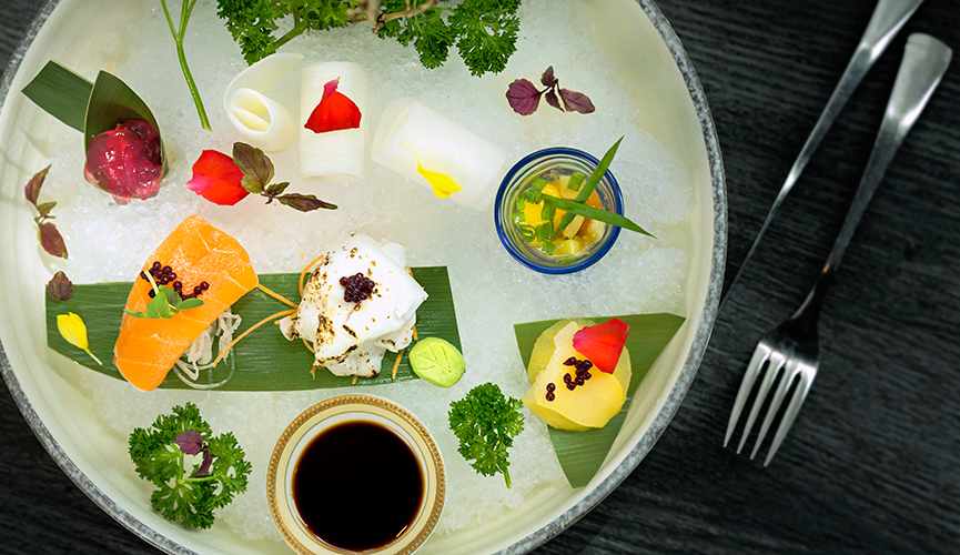 Joie Vegetable Sashimi on Ice with Quail Egg Shooter