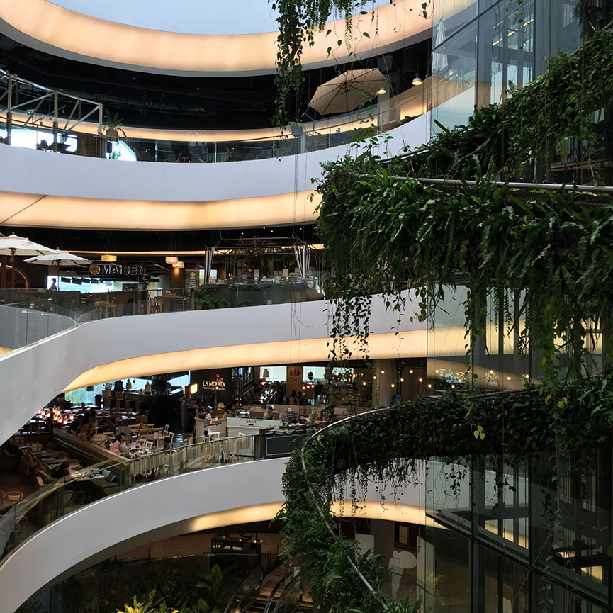 """The """"food helix"""" of Emquartier. You'll never go hungry here. Image by John Lee."""