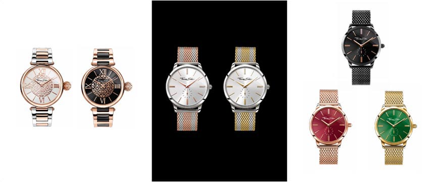 Thomas Sabo Ladies Karma watches, watches with two tone straps, colourful watch faces.