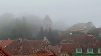 Wednesday in Sighisoara: A foggy, chilly morning, viewed from the warmth of our room.