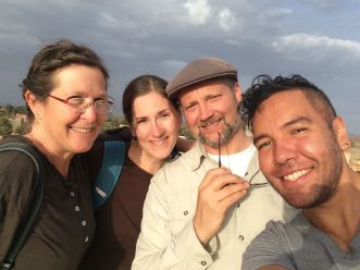 With friends on the upper terrace