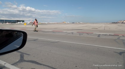 The airport runway tarmac
