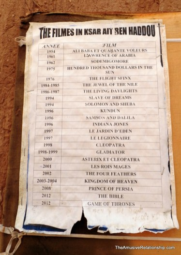 Movies filmed in Ait Ben Haddou, according to a local sign