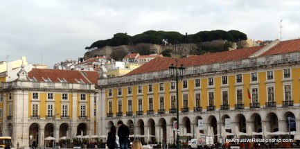 Saint Jorge's Castle as seen from Praça do Comercion overlooking the city